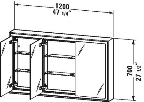 L Cube Mirror Cabinet Recessed Version Lc7653 Duravit