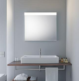 mirrored bathroom cabinets with lights. in this version, a light field on the top edge of mirror provides direct illumination. mirrored bathroom cabinets with lights